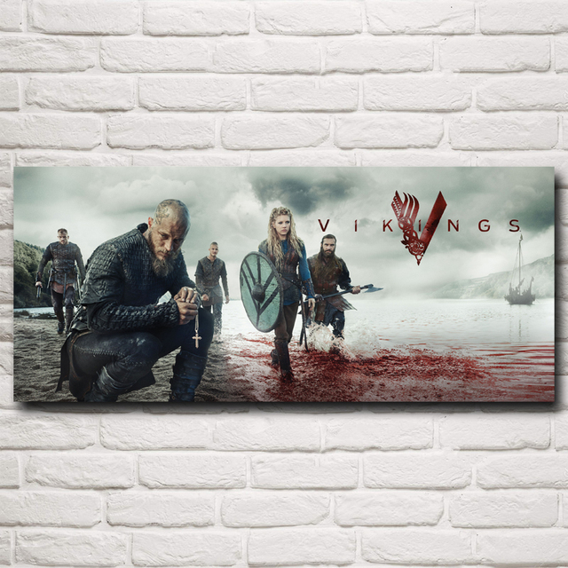 Vikings TV Series Art Silk Fabric Poster Prints Home Wall Decor Pictures 10×23 12×28 15×35 20×46 Inches Free Shipping