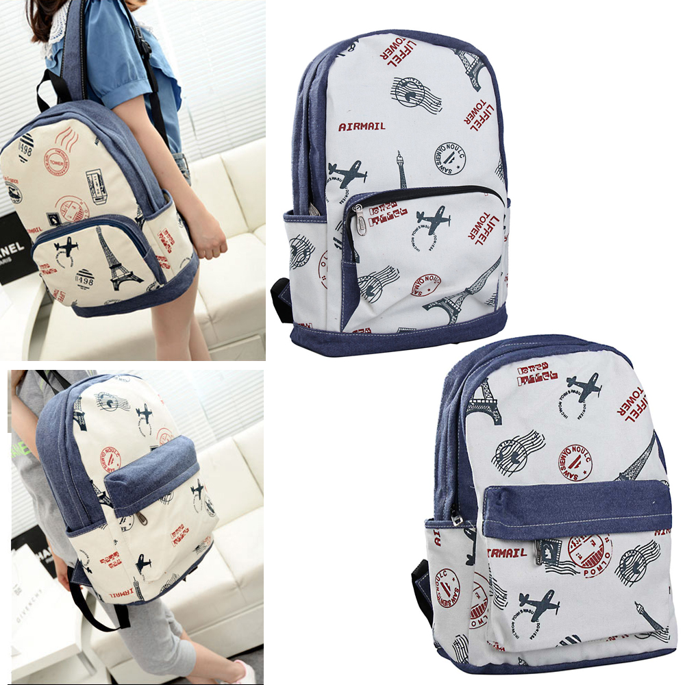 Girl Casual Canvas Backpack Tower Stamp Print Preppy Style Schoolbag Retro 2 Style 88 LBY2017