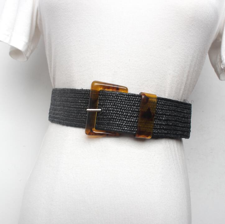 Women's Runway Fashion Knitted Cummerbunds Female Dress Corsets Waistband Belts Decoration Wide Belt R1584