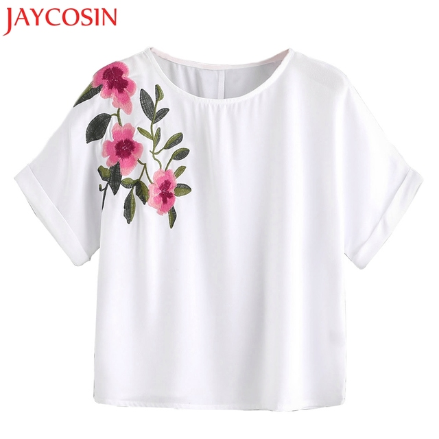 89ac6be30f JAYCOSIN 2018 New Women Flower Embroidery Shirt Short Sleeve Blouse Tees  Ladies Casual Tops Dropshipping Free Shiping 15p