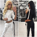 Autumn Women's Casual Two Pieces Sets Three Quarter Sleeve O Neck Patch Work Tops Long Pants Fashion Women Tracksuit CL3290