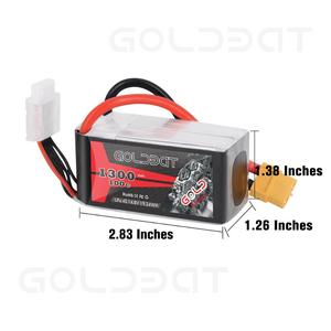 Image 2 - 2units GOLDBAT 1300mAh Lipo Battery for fpv Lipo 4S 100C 14.8V Softcase With XT60 Plug For Heli Airplane UAV Drone FPV RACING