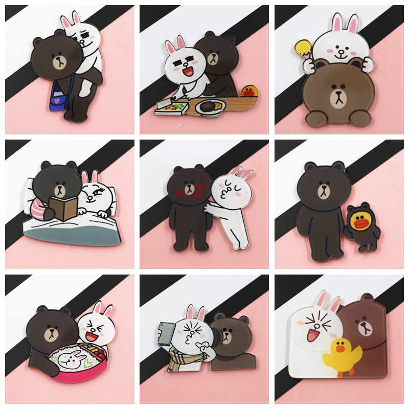 1 Pcs Animale Del Fumetto Spille Orsi Cute Panda Orso di Ghiaccio Denim Kawaii Risvolto Marrone Orso Connie Coniglio Spille Commercio All'ingrosso Badge