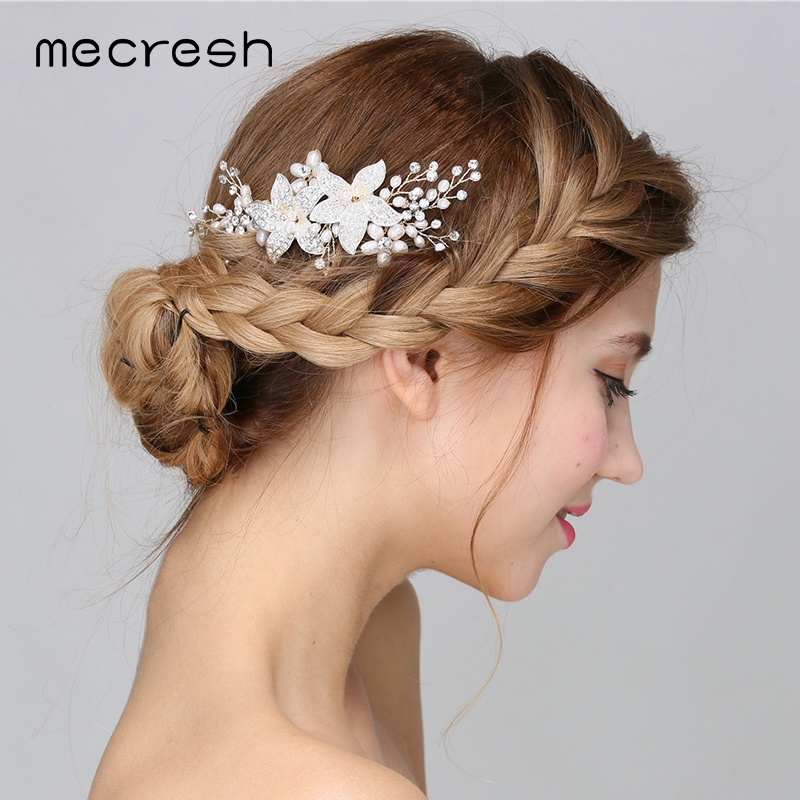 Mecresh Luxury Flowers Simulated Pearl Wedding Hair Accessories Fashion Crystal Bridal Hair Combs For Women Party Jewelry MFS161
