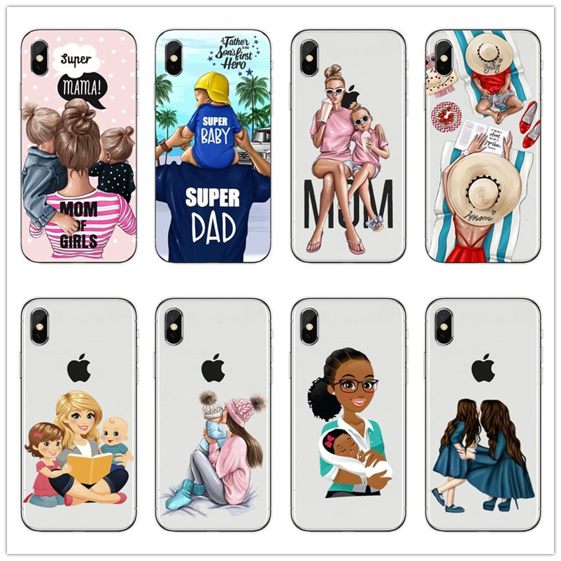Black Brown Hair Dear Baby Mom Girl son Queen 01 mommy princess back cover For <font><b>iPhone</b></font> 7 6 6s <font><b>8</b></font> Plus 5S X XS Silicone Phone <font><b>Cases</b></font> image