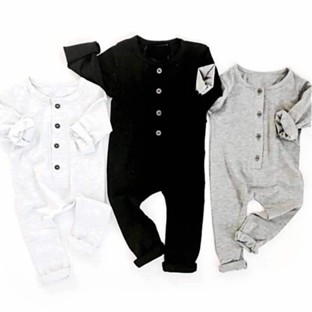 Newborn Baby Boys Girls Solid Fold Button Homewear Casual Romper Jumpsuit Infantil Clothing Costume Baby Clothes Baby Boy Romper