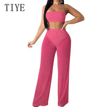 TIYE Two Pieces Sets Knitted Jumpsuits for Women Sexy Off Shoulder Top and Wide Leg Pants with Beading Summer Elegant Wear