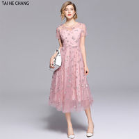 Women New 2018 Summer sequins mesh Dress Slim Sexy Women Short Sleeve Vintage Big Swing Business Casual formal party Dresses