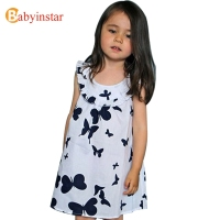 Flower Printed Baby Girl Dress 2014 Summer Kids Baby Clothes Cotton Sleeveless Dresses Butterfly Patterns Girl