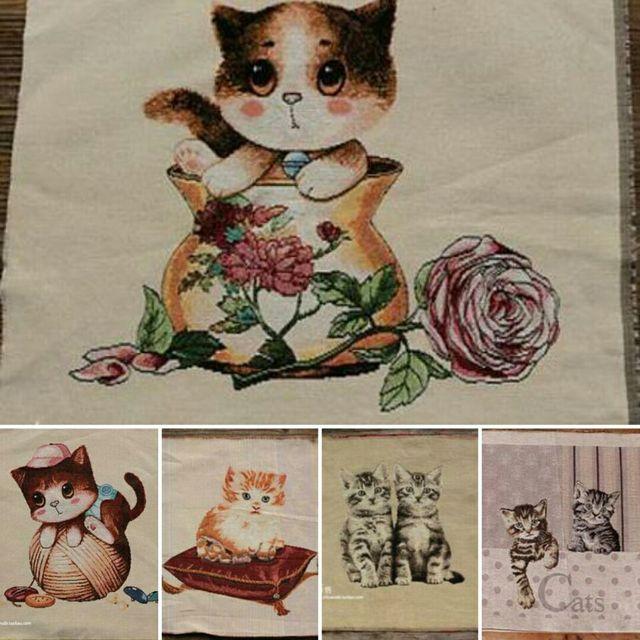5 farben 50x50 cm Katze Muster Polyester Baumwolle Leinen Leinwand ...