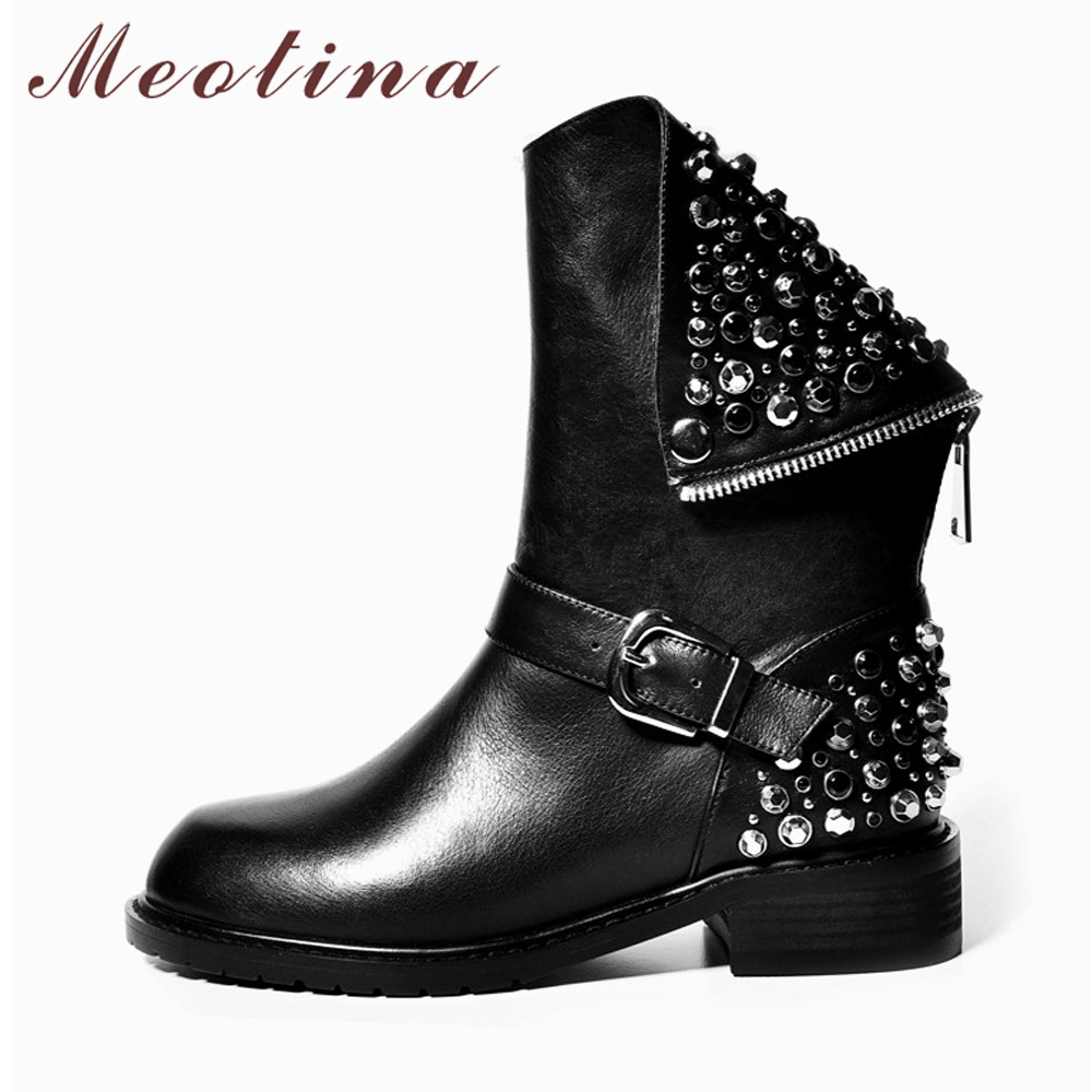 Meotina Natural Real Leather Motorcycle Boots Women Martin Boots Winter Punk Rivets Ankle Boots Buckle Genuine Leather Shoes 43 women martin boots 2017 autumn winter punk style shoes female genuine leather rivet retro black buckle motorcycle ankle booties