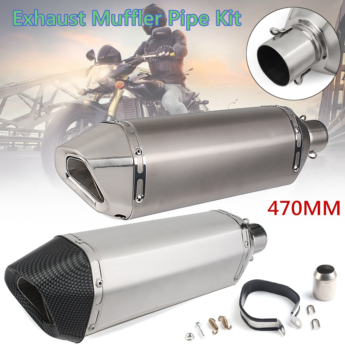 38~51mm Universal Motorcycle Exhaust Stainless Steel Exhaust Muffler Pipe Kit For Honda for KAWASAKI for Yamaha цена
