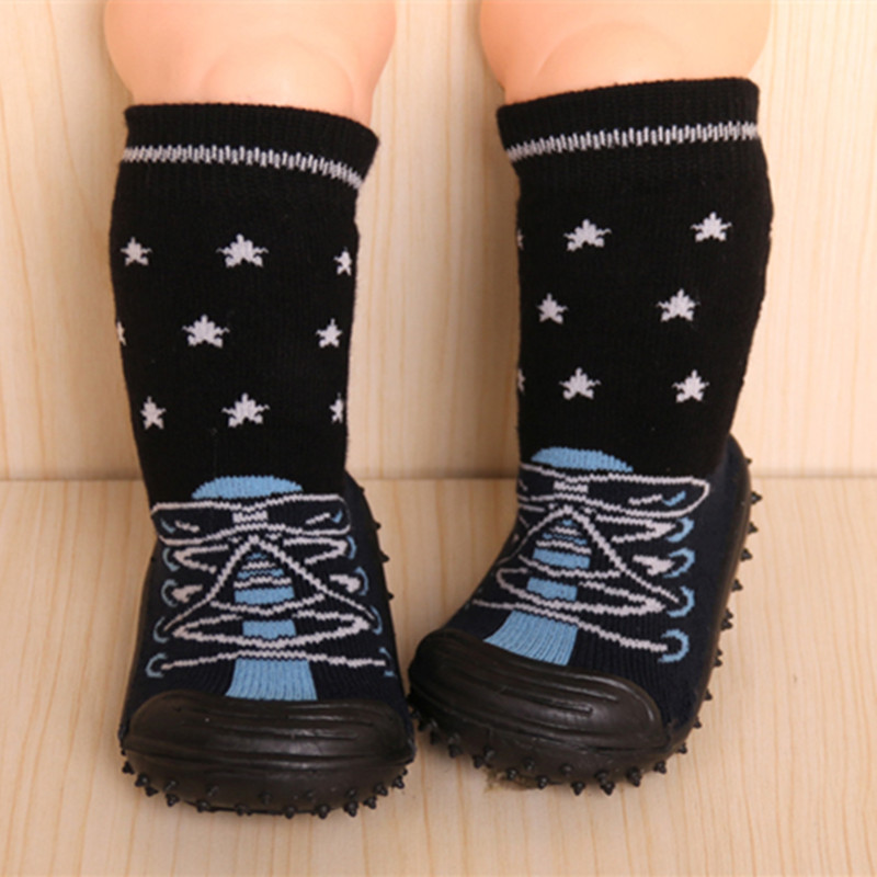 Toddler Indoor Floor Shoes Newborn Anti Slip Baby Socks Cotton Learning To Walk Baby Socks With Rubber Soles Infant Socks DS19