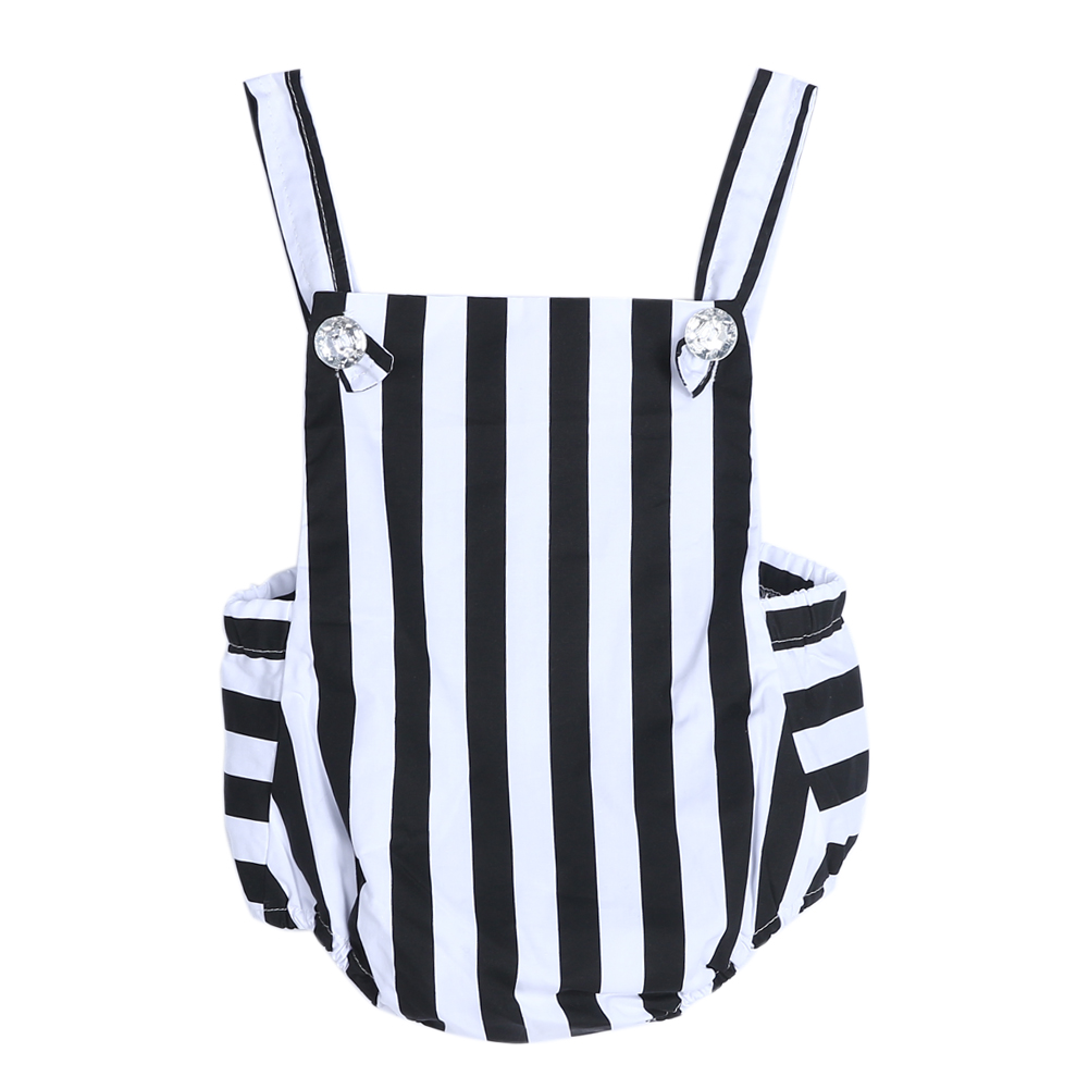 Mode Baby Baby Peuters Mouwloos Gestreept Zomer Bodysuits Jumpsuit - Babykleding