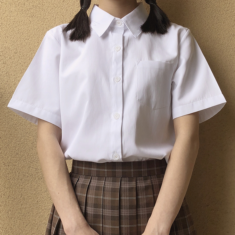 Japanese High School Schoolgirl Square Collar Short-sleeve Shirt Opacity Solid White Uniform Shirts