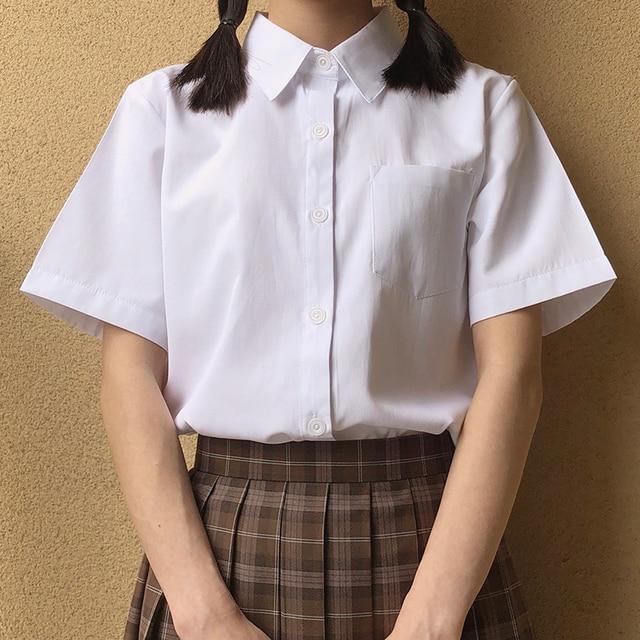 Japanese high school Schoolgirl Square collar short sleeve shirt Opacity solid white uniform shirts