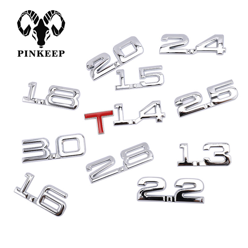Car 3D Metal 1.6T 1.8T 2.2T 2.5T 3.0T Logo Sticker Emblem Badge Decals Auto Tail Sticker title=