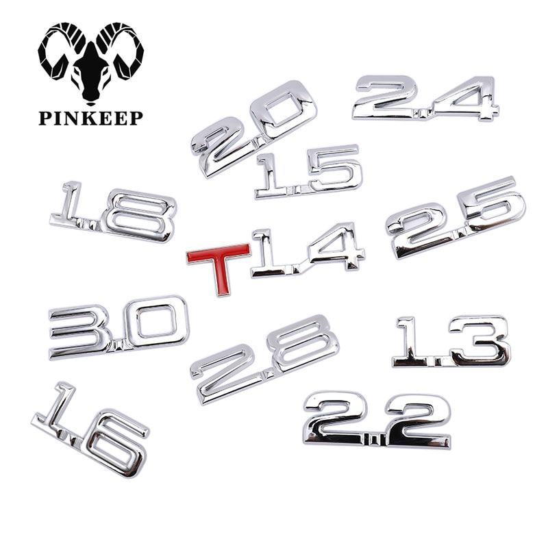 Car 3D Metal 1.6T 1.8T 2.2T 2.5T 3.0T Logo Sticker Emblem Badge Decals Auto Tail Sticker for BMW Mercedes Ford Audi Toyota Honda(China)