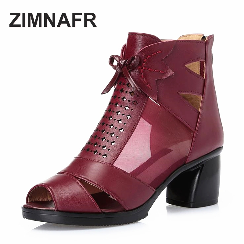 где купить ZIMNAFR BRAND 2017 SUMMER NEW  FASHION MESH SANDALS FISH MOUTH THICK HEEL GENUINE LEATHER ZIP WOMEN SANDALS PLUS SIZE 35-43 по лучшей цене