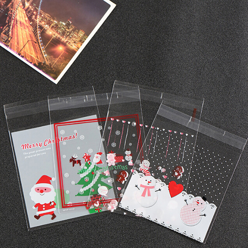 Hot! 100X Cookie Gift Bags Christmas Santa Claus Snowman Snacks Biscuits Packaging Plastic Bags Candy Bag Party Wedding Favor