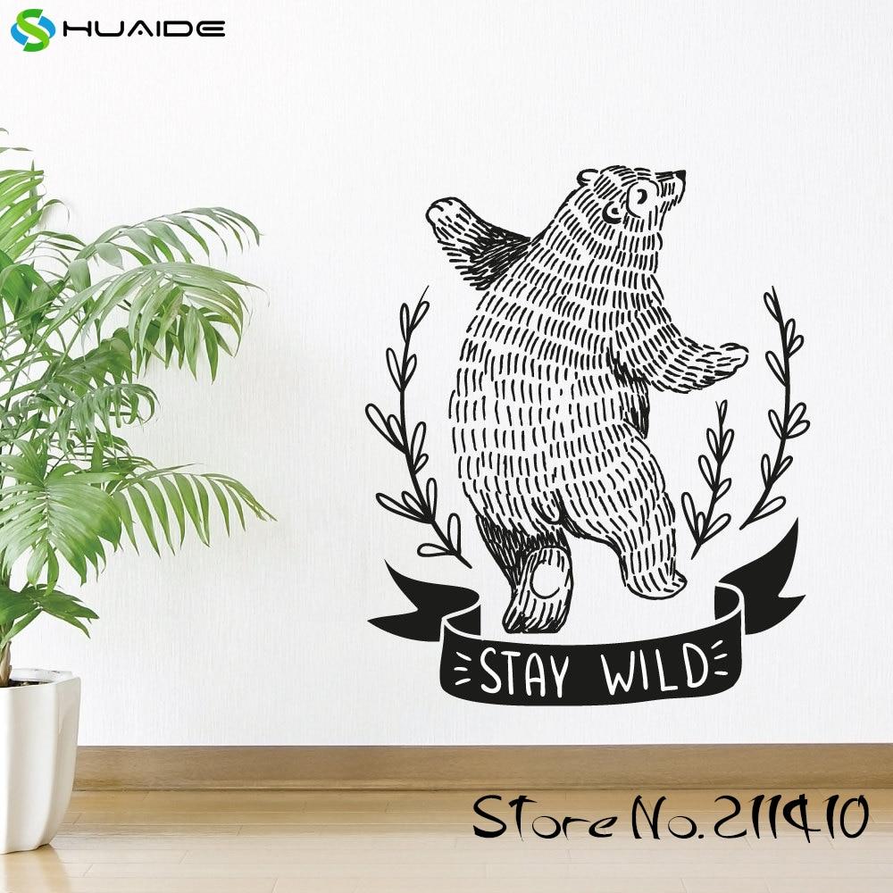 Tinggal Liar Beruang Dinding Decal Hitam Vinyl Adesivo De Parede  -> Adesivo Com Foto
