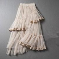 Summer women 's irregular stitching lace multi - layer net yarn asymmetric stretch waist skirt Slim long section