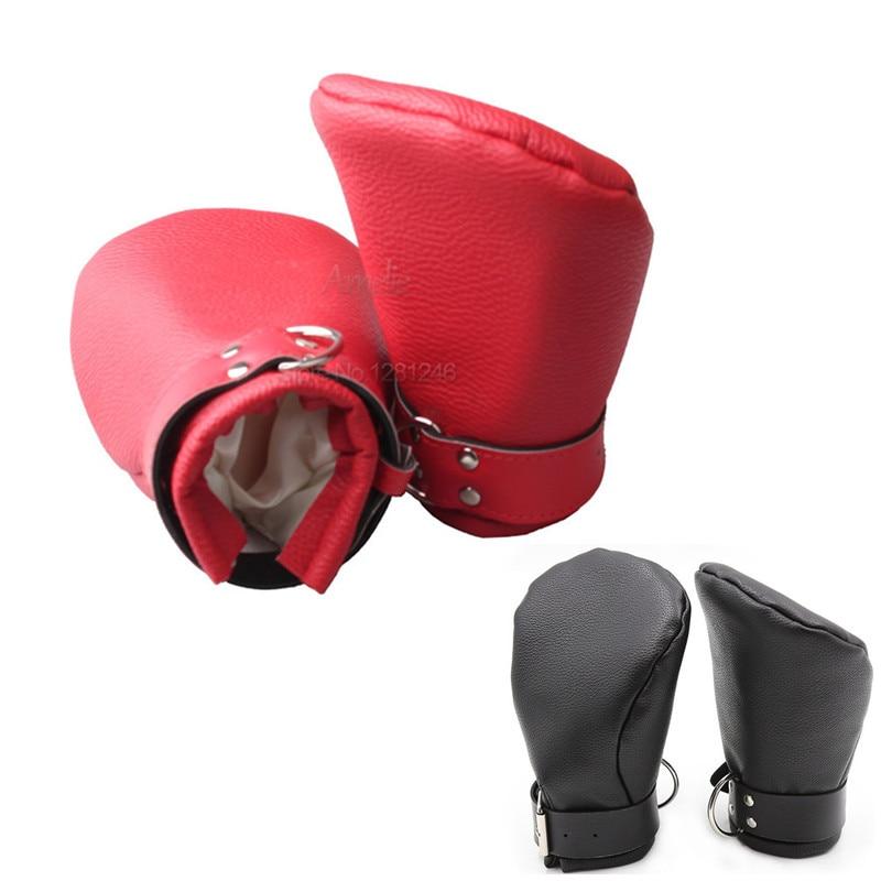 Фетиш, сексуальный бондаж, полуперчатки на кулак пони раб варежки кожа депривация Защитные Перчатки взрослые игры Подкова перчатки