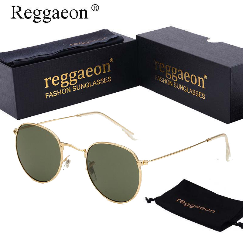 reggaeon 2018 Retro Round Sunglasses Mirror Gradient G15 Lens Round Metal Sun glasses oc ...