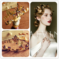 Retro Barokowy tiara korony ślubne ślubne akcesoria do włosów pałąk złoty motyl handmade suknia ślubna akcesoria