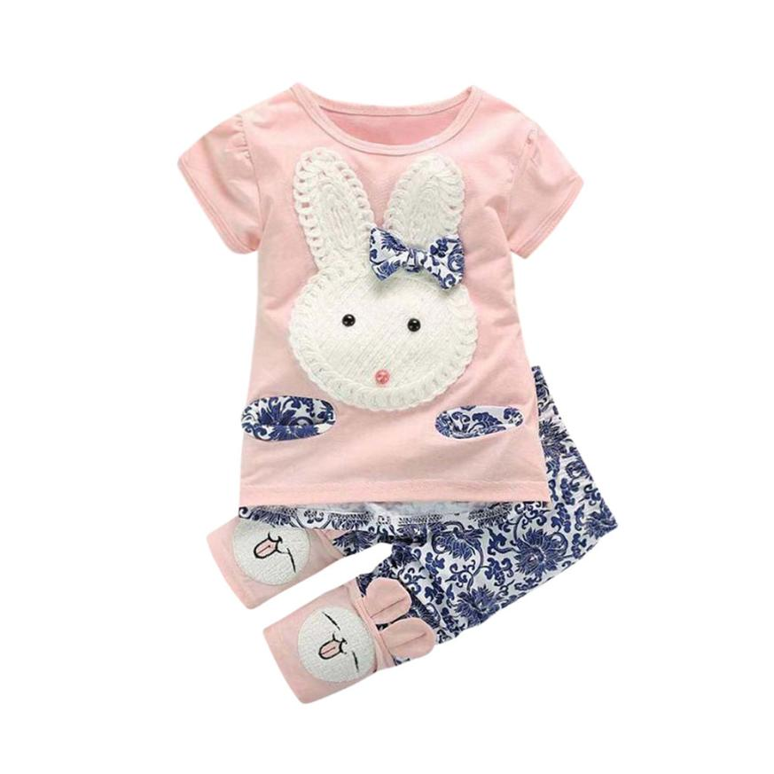 2018 New Arrival Toddler Kids Baby Girls Short Sleeve T-Shirt Tops +Pants Bunny Outfit Set Clothes 1 Set Dec 29
