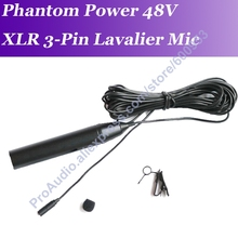 Profissional micwl me2 xlr macho 3pin lapela clip on microfone 48 v phantom power mic 5m cabo