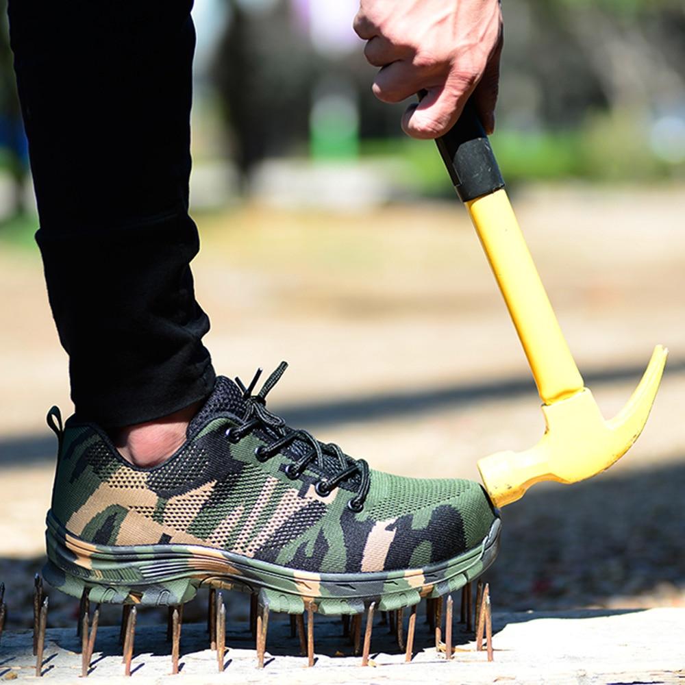 MWSC/Мужская модная защитная обувь со стальным носком, дышащая повседневная рабочая обувь на шнуровке, камуфляжная, зеленая