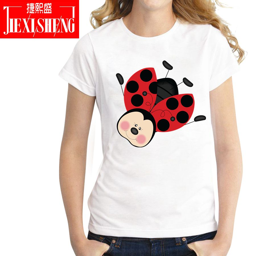 Summer Leisure T Shirt Tops Cute Ladybug Print Women's Tshirt Fashion O-neck Women T-shirts