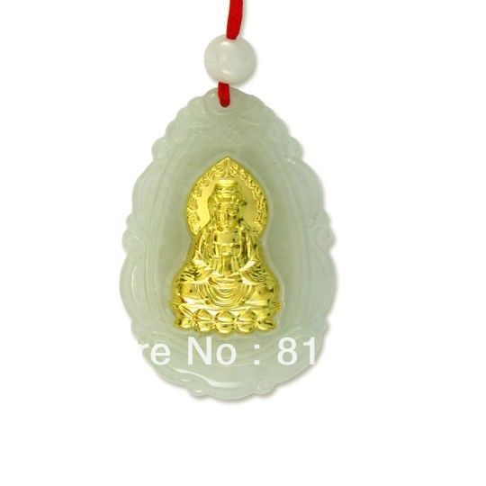 N590 Naturel Jade Agate 24 k Or Zodiaque Guanyin Bouddha Collier N Remise