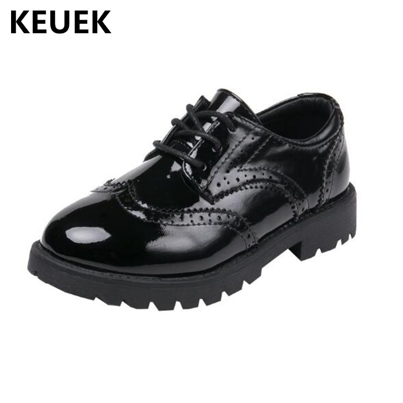 New Spring Children Leather Shoes Boys Girls Black Low-heeled Patent Leather  School Student Casual a1685b4e18f8