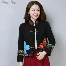 סינית מסורתית בגדים לנשים cheongsam למעלה מנדרינית צווארון נשים חולצות וחולצות מזרחי סין בגדי V1362