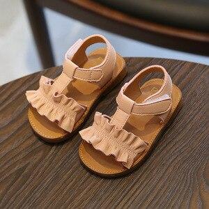 Image 3 - Claladoudou 12 16CM çocuk sandaletleri 2019 pembe bej saf yaz kızlar Sandal Ruffles prenses ayakkabı kaymaz bebek sandal yürümeye başlayan