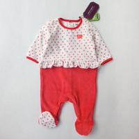 For 0M 24M Baby Girl Clothing Full Sleeve Foot Cover Velvet Sleepwear Newborn Rompers Printed Strawberry