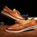 Los hombres de los Holgazanes Mocasines Zapatos de Los Planos Ocasionales de La Borla de Marca Diseñador 2016 Zapatos de Conducción de Cuero Genuino Masculino de Moda Italiana