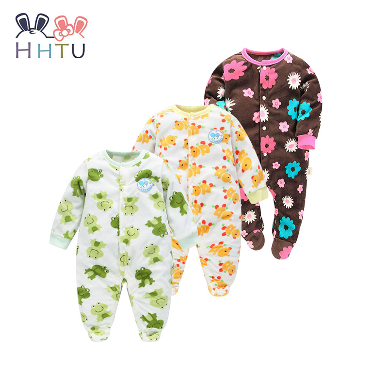 HHTU Baby Rompers Clothes Long Sleeved Coveralls for Newborns Boy Girl Polar Fleece Baby Clothing for Autumn/Winter mother nest 3sets lot wholesale autumn toddle girl long sleeve baby clothing one piece boys baby pajamas infant clothes rompers
