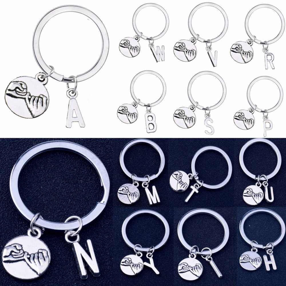 Initial Letter A-Z Pinky Swear Gesture Charm Keyring Best Friend Lovers Couple Promise Gift Key Chain Men Women Keychain Jewelry