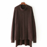 Women Harajuku Sweaters Half High Collar Irregular Long Sleeved Plus Size Top Coats Autumn 2018 Hot Sale Loose Fashion Sweater