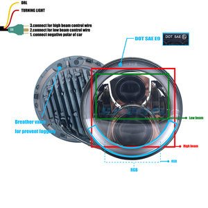 "Image 3 - Para Land Rover Defender 7 ""Polegada 50 w LED Faróis Alta Low Beam Angel Eye DRL Âmbar Turn Signal para Jeep Wrangler JK Luzes Led"