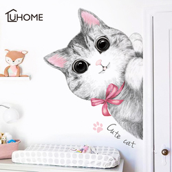 Kawaii naklejka ścienna z kotem dla dzieci pokój dla dzieci sypialnia salon dekoracja drzwi lodówka DIY zwierzęta naklejka dekoracyjna do domu