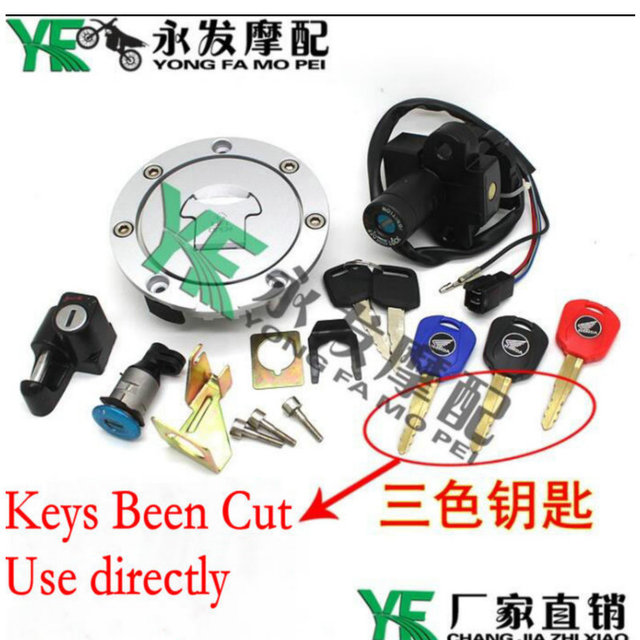 Motorcycle Ignition Switch Lock Fuel gas Tank Cap Cover Seat Handle Locks Include Key For Honda CB400 CB 400 92-98 year CB-1