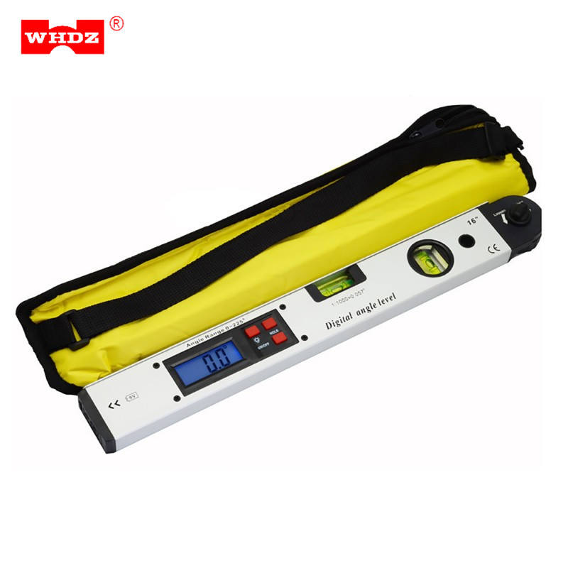 WHDZ Digital Protractor Angle Finder Meter Level Electronic 360 Degree Spirit Inclinometer Slope Tester Ruler 400mm/16inch 0 05 dxl360 s c v2 digital protractor inclinometer dual axis level measure box angle ruler elevation meter svrs 232 pc adapter
