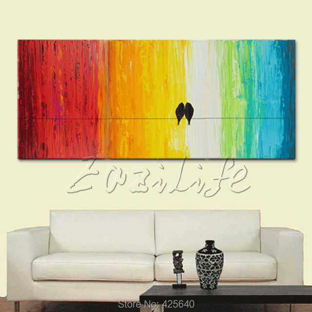 Birds Hand Painted Palette Knife Colorful Tree Oil Painting Wall Art ...