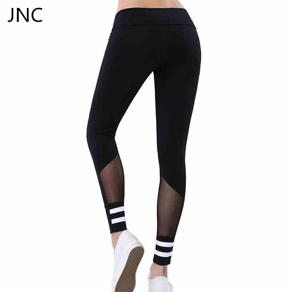 Thicken Mesh Leggings White Stripe Patchwork Black Fitness