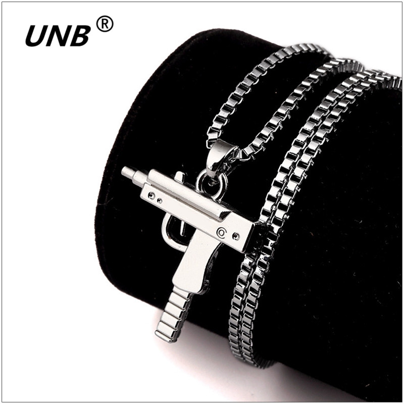 Fashion Hip Hop Jewelry Engraved Letter Logo Gold Color Gun Necklace Long Chain Punk Pendant Necklaces For Men Women Bijoux Gift
