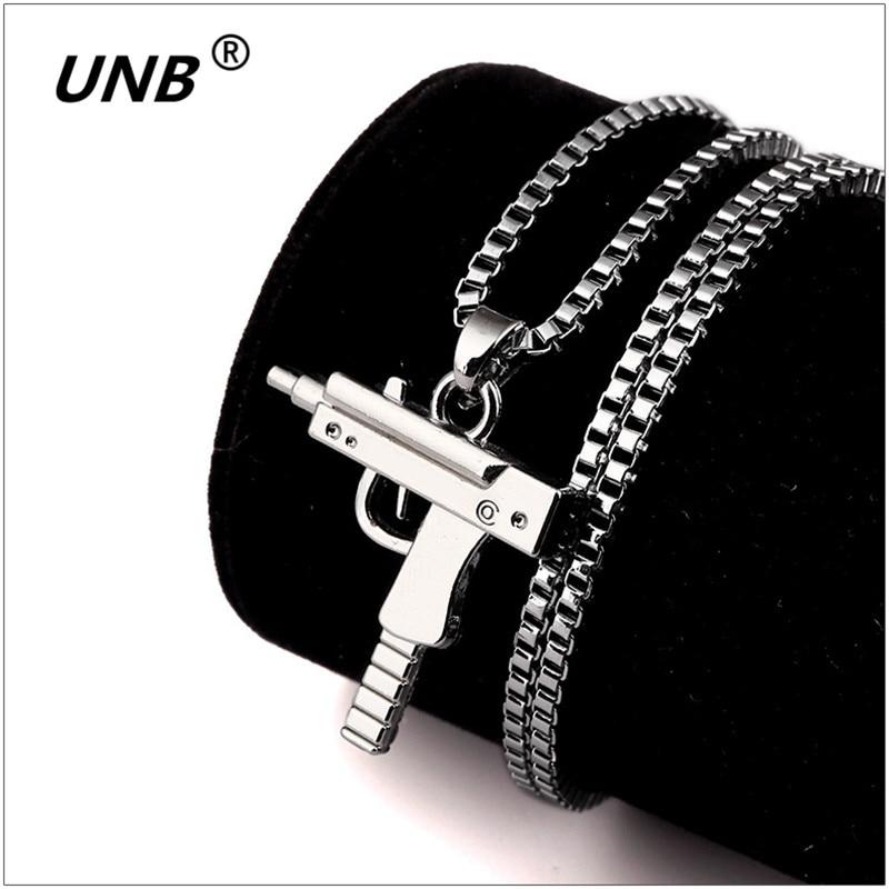 Fashion Hip Hop Jewelry Engraved Letter Logo Gold Color Gun Necklace Long Chain Punk Pendant Necklaces For Men Women Bijoux Gift